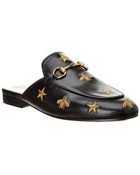 Gucci - Princetown Embroidered Leather Slipper - Lyst