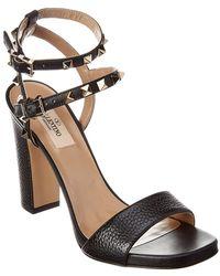 e3c9b7d423cc Lyst - Valentino Rockstud Rubin Deer Leather Ankle Strap Sandal in ...