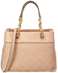 8c57f1795e9 Tory Burch Kerrington Stripe Leather Tote - Lyst