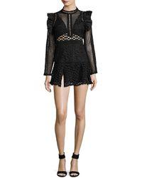 Haute Rogue - Lace Ruffle Mini Dress - Lyst