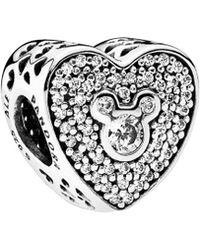 8033ea87b PANDORA - Disney Mickey & Minnie Sparkling Heart Charm - Lyst