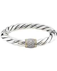 David Yurman - David Yurman Metro 18k & Silver 0.50 Ct. Tw. Diamond Bangle Bracelet - Lyst