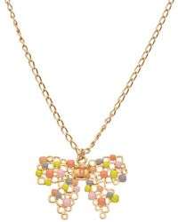 Chanel - Gold-tone Enamel Bow Necklace - Lyst