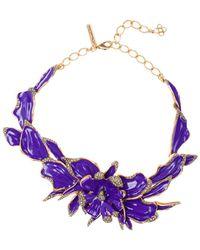 Oscar de la Renta - Orchid Enamel & Swarovsky Crystal Necklace - Lyst