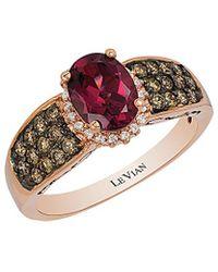 Le Vian - ? Chocolatier? 14k Rose Gold 1.97 Ct. Tw. White & Brown Diamond & Rhodolite Ring - Lyst