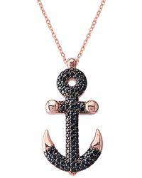Gabi Rielle - Rose Gold Over Silver Cz Anchor Necklace - Lyst
