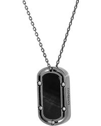 Damiani - 18k Rhodium Plated 0.30 Ct. Tw. Diamond Dog-tag Necklace - Lyst