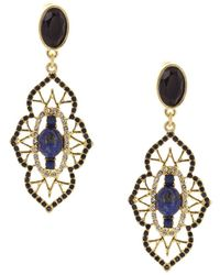 Sparkling Sage - 14k Plated Crystal & Resin Drop Earrings - Lyst