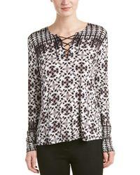 8a4a71dbcf NYDJ - Batik Printed Long Sleeve Knit Lace Up Top - Lyst