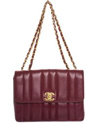 98a11ced503b Chanel - Burgundy Caviar Leather Vertical Small Flap Bag - Lyst