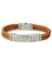 Samuel B. - Imperial Silver & Leather Basketweave Bracelet - Lyst