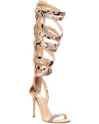 Giuseppe Zanotti - Lace-up Embossed Leather Sandal - Lyst