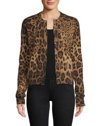 Dolce & Gabbana - Leopard Cashmere Cardigan - Lyst