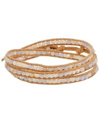 Chan Luu - Silver Gemstone & Mother-of-pearl Leather Wrap Bracelet - Lyst