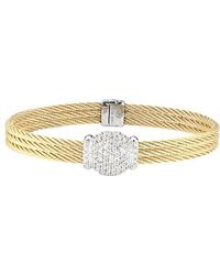 Alor - Classique 18k White Gold 3 Row Diamond & White Sapphire Cable Bracelet - Lyst