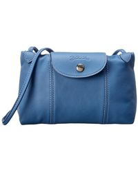 Longchamp Le Pliage Cuir Leather Crossbody - Blue