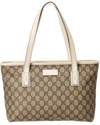 acd3b21b5144 Gucci - Brown GG Supreme Canvas & White Leather Tote - Lyst