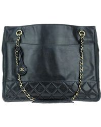 Chanel - Navy Blue Lambskin Leather Tote - Lyst