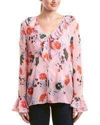 37b70358cd370 Lyst - By Malene Birger Bartolomea Floral Print Vneck Silk Blouse