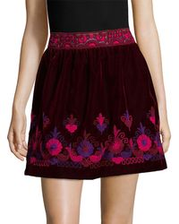 Anna Sui - Embroidered Mini Skirt - Lyst