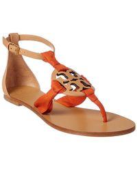 3ea9afc2bb7bb3 Tory Burch - Miller Scarf Leather Sandal - Lyst