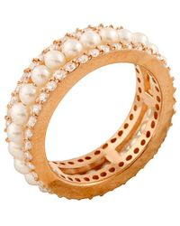 Splendid - 14k Rose Gold Over Silver 4-4.5mm Freshwater Pearl & Cz Ring - Lyst