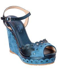Jimmy Choo Perla 120 Scalloped Perforated & Leather Wedge Sandal