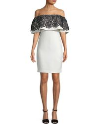 Badgley Mischka - Woman Off-the-shoulder Guipure Lace-paneled Crepe Dress Ivory - Lyst