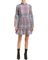 English Factory - Smocked Check Shift Dress - Lyst