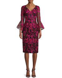 Carmen Marc Valvo - V-neck Embroidered Dress - Lyst