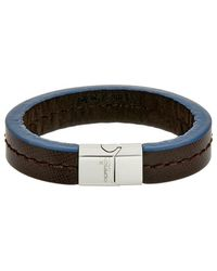 Thompson London - Stainless Steel & Leather Bracelet - Lyst