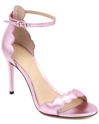 Rachel Zoe - Ava Scalloped Metallic Leather Sandals - Lyst