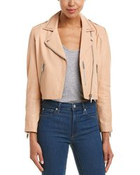 Doma Leather - Studded Leather Cropped Biker Jacket - Lyst