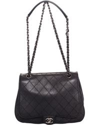 cf0a03f6683 Chanel - Black Quilted Leather Coco Twin Flap Bag - Lyst
