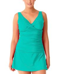 Anne Cole - Plus Off-the-shoulder Taiwanist Front Tankini - Lyst