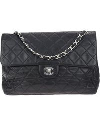 bca1cf02c364 Chanel - Black Quilted Lambskin Leather Jumbo Single Flap Bag - Lyst