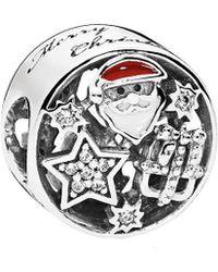 PANDORA - Silver Cz & Mixed Enamel Christmas Joy Charm - Lyst