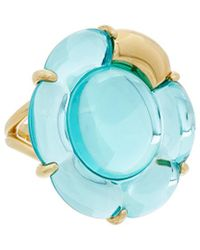 Baccarat - B Flower 18k Over Silver Vermeil Crystal Large Ring - Lyst