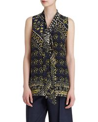 Lafayette 148 New York - Dana Silk Printed Tie-neck Blouse - Lyst