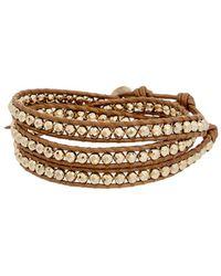 Chan Luu - Silver Leather Pyrite Wrap Bracelet - Lyst