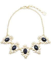 Zenzii - Vintage Scroll Gemstone Collar Necklace - Lyst