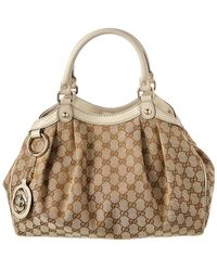 Gucci - Brown GG Canvas & Beige Leather Sukey - Lyst