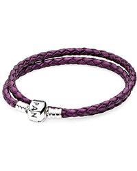 PANDORA - Silver Leather Bracelet - Lyst