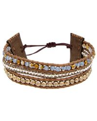 Chan Luu - Silver Pyrite & Crystal Leather Adjustable Bracelet - Lyst