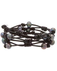 Chan Luu - Silver & Leather 5mm Pearl Triple Wrap Bracelet - Lyst