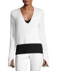 Narciso Rodriguez - Colorblocked Knit Top - Lyst