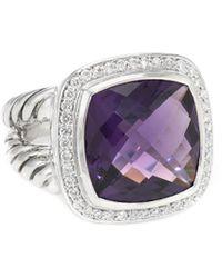 David Yurman - David Yurman Albion Silver 0.34 Ct. Tw. Diamond & Amethyst Ring - Lyst