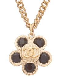 Chanel - Black & Gold-tone Camellia Necklace - Lyst