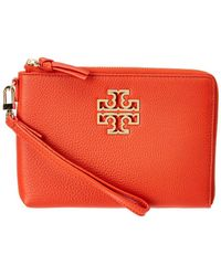 e42af8bdc034 Tory Burch - Britten Large Pebbled Leather Pouch - Lyst