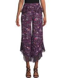 Anna Sui - Fairy Field Crepe & Daisy Velvet Burnout Pant - Lyst